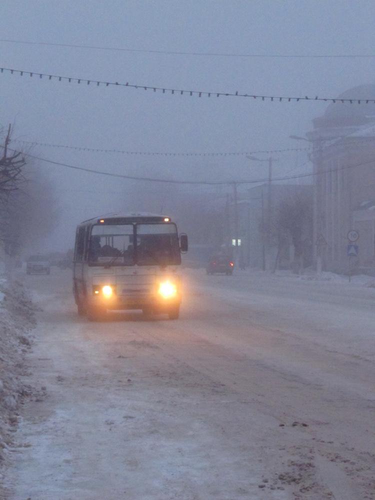 Вечерний туман в Скопине