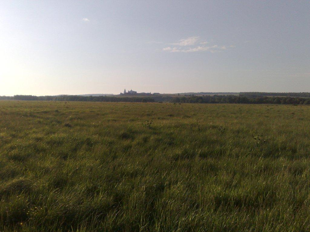 Дорога от деревни Свинушки к реке Верде, на заднем плане Свято-Дмитриевский Монастырь